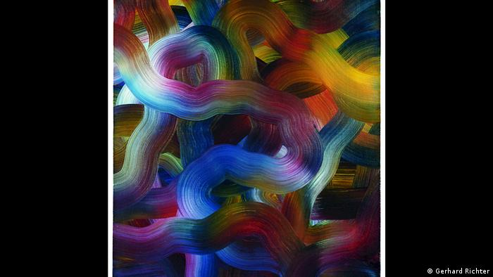 Gerhard Richter painting, Rot-Blau-Geld (1972) (Gerhard Richter)