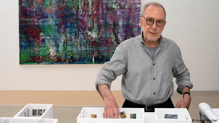 Gerhard Richter seen in front of painting