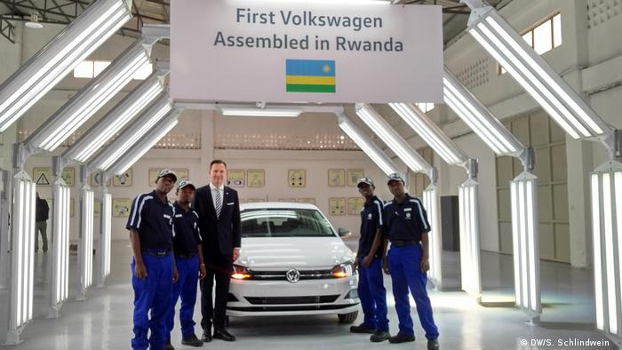 The first VW car assembled in Rwanda