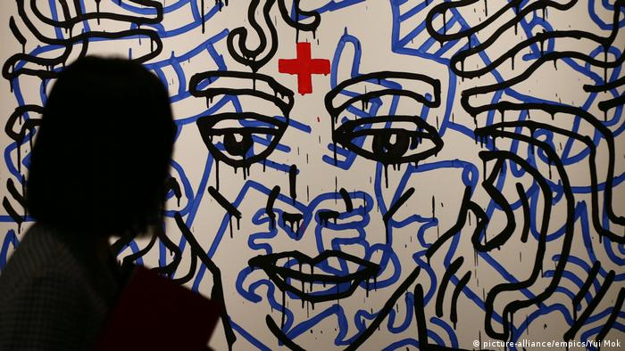Keith Haring Porträt von Michael Jackson (picture-alliance/empics/Yui Mok)