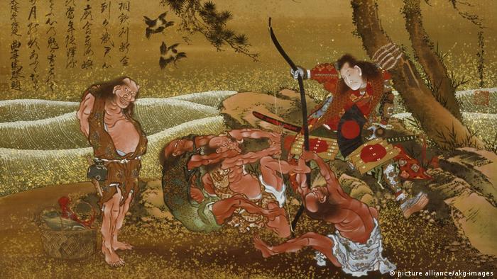 Это - одна из иллюстраций к историям о легендарном сёгуне Таметомо
