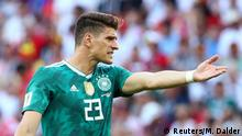 Soccer Football - World Cup - Group F - South Korea vs Germany - Kazan Arena, Kazan, Russia - June 27, 2018 Germany's Mario Gomez reacts during the match REUTERS/Michael Dalder