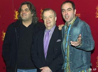 British director Paul Greengrass (left) with Bloody Sunday actor James Nesbitt (right) and Irish eyewitness Ivan Cooper (center)