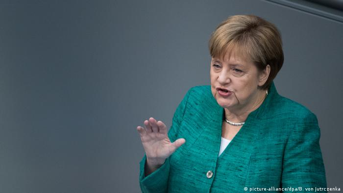 Chancellor Angela Merkel in the Bundestag