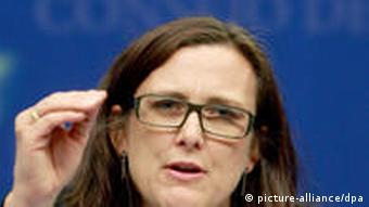 Swedish EU Affairs Minister Cecilia Malmstrom during a news conference