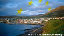 Symbolbild Island mit EU-Sternen Europa EU-Erweiterung Island Foto: picture-alliance/dpa Grafik: DW