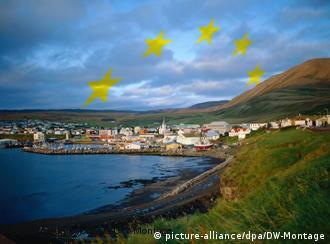 Reykjavík coastline with EU stars in the sky above