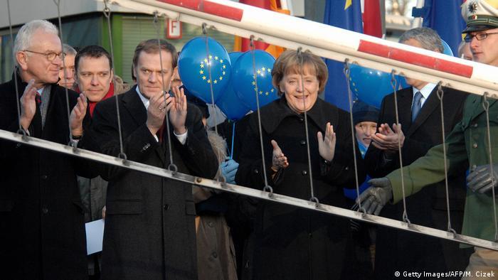 Deutschland Polen - Grenzöffnung - Merkel und Tusk