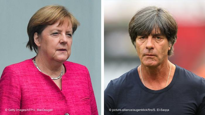 Angela Merkel e Joachim Löw: ambos estão há 12 anos no comando e agora tem seus trabalhos fortemente questionados