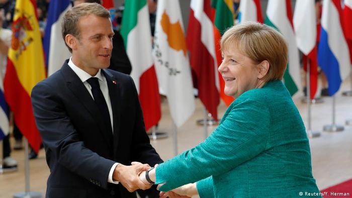 Belgien - EU-Gipfel in Brüssel - Macron und Merkel (Reuters/Y. Herman)