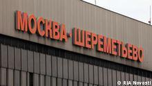 Russland Flughafen Moskau Scheremetjewo Schild