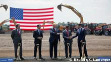 President Donald Trump, along with Terry Gou, founder and chairman of Foxconn, and Speaker of the House Paul Ryan, participate in the Foxconn Technology Group groundbreaking ceremony for its LCD manufacturing campus, in Mount Pleasant, Wisconsin, U.S., June 28, 2018. REUTERS/Darren Hauck