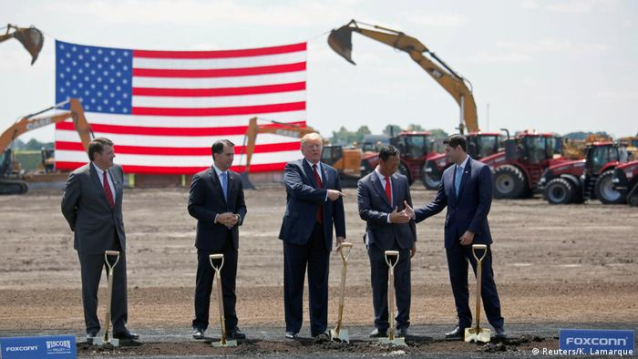 Donald Trump at a groundbreaking ceremony