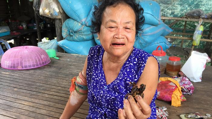65-year-old Yee Thon holds a fried tarantula in Cambodia (Kris Janssens)