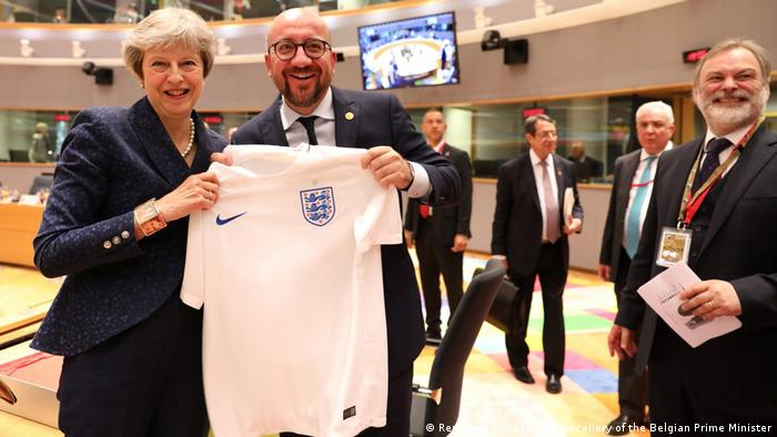 Belgien EU-Gipfel in Brüssel | Theresa May & Charles Michel (Reuters/Courtesy of Chancellery of the Belgian Prime Minister)