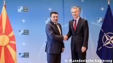 Titel: Pressekonferenz des mazedonischen Ministerpräsidenten Zoran Zaev und des NATO-Generalsekretärs Jens Stoltenberg in Brüssel, 29.06.2018.