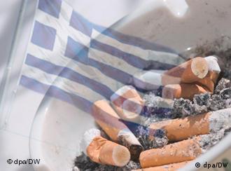 Full ashtray with Greek flag superimposed