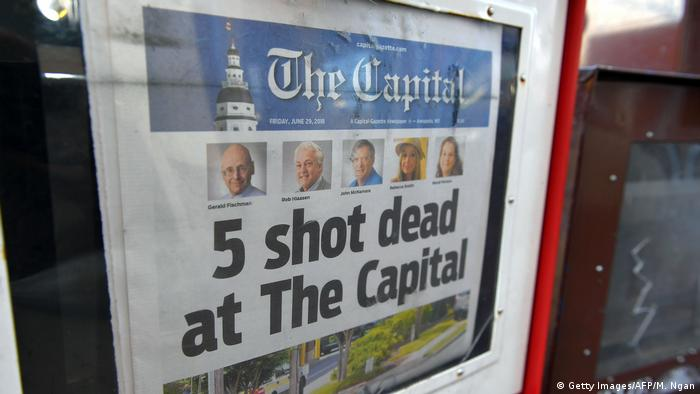 Front page of the Capital newspaper in Maryland