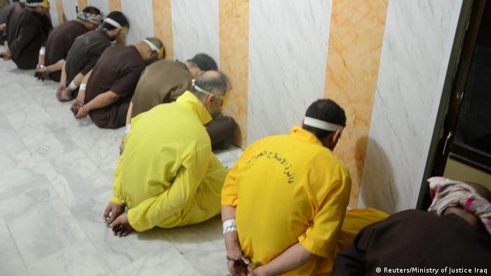 People convicted of terrorism are seen before their execution in Iraq