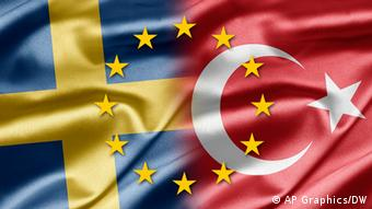 A Swedish and Turkish flag with the stars of the the EU flag superimposed