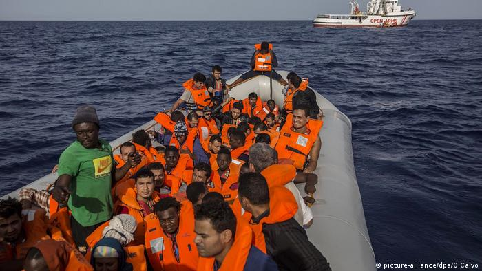 Migrants being saved near the Libyan coast
