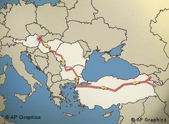 قرار است خط لوله نابوکو گاز حوزه خزر را از طریق ترکیه، بلغارستان، رومانی و مجارستان به اتریش برساند