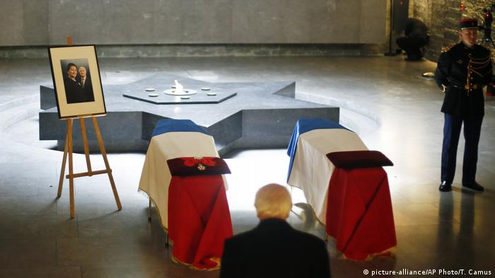 The flag-draped coffins of French politician Simone Veil, right, and her husband Antoine Veil are displayed at the French Holocaust memorial in Paris