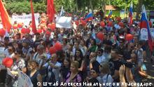 Russland Krasnodar Demonstration Nawalny Anhänger Rentenreform