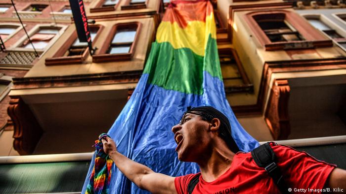 An LGBT activist shouts slogans during Istanbul's gay pride march (Getty Images/B. Kilic)
