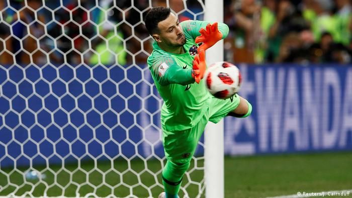 Danijel Subasic saves Christian Eriksen's penalty in the win over Denmark