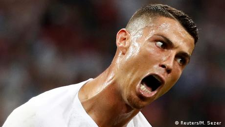 In 2018, Portugal's football star Cristiano Ronaldo reacts during a game, pulling his face into a contortion of anger