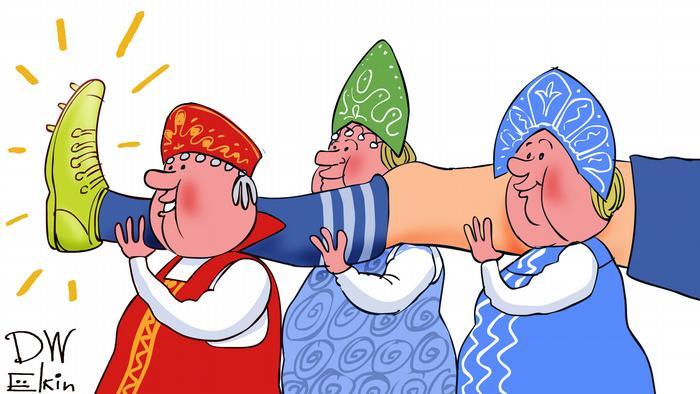 Карикатура - российские болельщики в женских национальных нарядах несут ногу, судя по всему, Игоря Акинфеева.