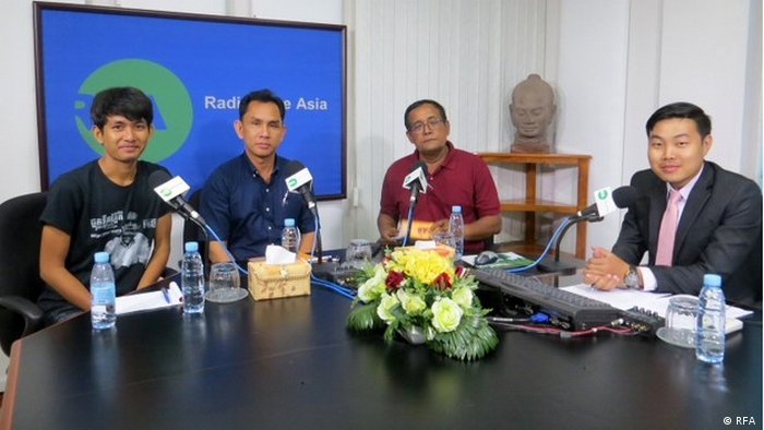 Cambodia, Koh Kong: Secret Resistance: Journalist Dara (right) and his colleagues at Radio Free Asia (RFA )