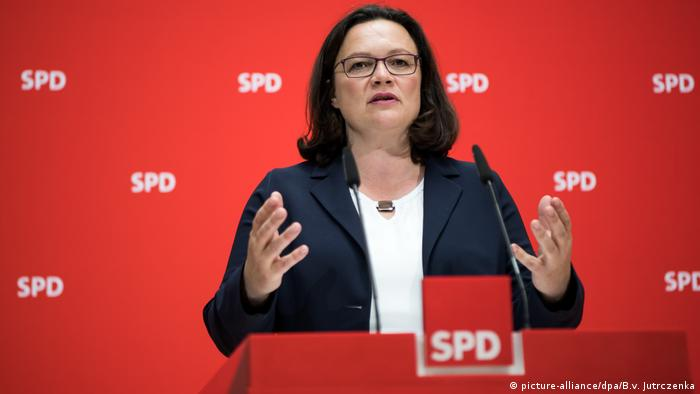 SPD leader Andrea Nahles (picture-alliance/dpa/B.v. Jutrczenka)