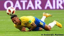 02.07.2018 +++ Soccer Football - World Cup - Round of 16 - Brazil vs Mexico - Samara Arena, Samara, Russia - July 2, 2018 Brazil's Neymar reacts during the match REUTERS/Dylan Martinez