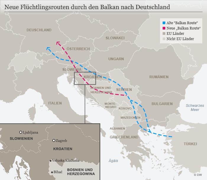 Infografik Karte Neue Balkan Route DE