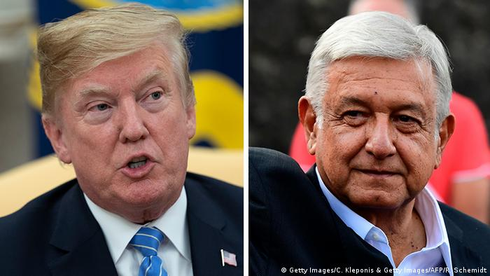 Kombo Donald Trump, Präsident USA & Andres Manuel Lopez Obrador, Präsident Mexiko (Getty Images/C. Kleponis & Getty Images/AFP/R. Schemidt)