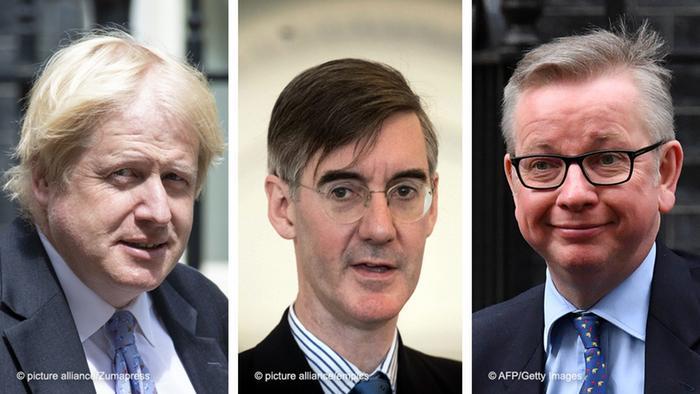 Bildkombo Boris Johnson Jacob Rees-Mogg Michael Gove