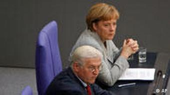 Merkel with Frank-Walter Steinmeier, current foreign minister and electoral opponent