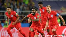 MOSCOW, RUSSIA - JULY 03: England celebrate after Eric Dier of England scores the winning penalty during the 2018 FIFA World Cup Russia Round of 16 match between Colombia and England at Spartak Stadium on July 3, 2018 in Moscow, Russia. (Photo by Matthias Hangst/Getty Images)