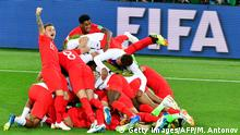 England's players celebrate their victory at the end of the Russia 2018 World Cup round of 16 football match between Colombia and England at the Spartak Stadium in Moscow on July 3, 2018. (Photo by Mladen ANTONOV / AFP) / RESTRICTED TO EDITORIAL USE - NO MOBILE PUSH ALERTS/DOWNLOADS (Photo credit should read MLADEN ANTONOV/AFP/Getty Images)