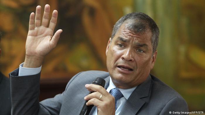 Portraitfoto: Rafael Correa, ehemaliger Präsident Ecuadors (Getty Images/AFP/STR)