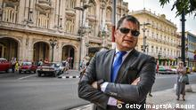 Ecuadoran former President Rafael Correa, is pictured as he walks the streets of Havana, on April 20, 2018. (Photo by ADALBERTO ROQUE / AFP) (Photo credit should read ADALBERTO ROQUE/AFP/Getty Images)