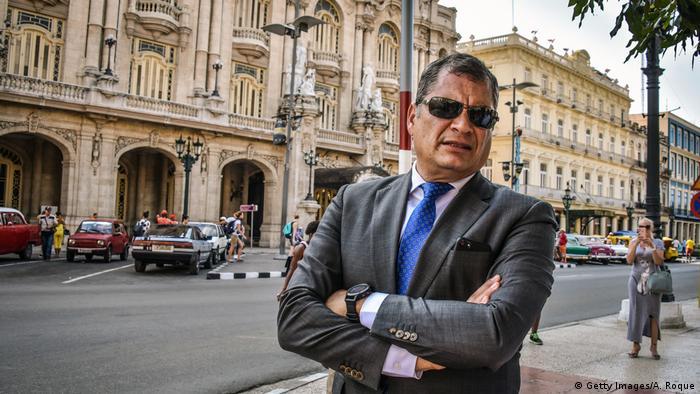 Rafael Correa during a visit to Cuba in 2018