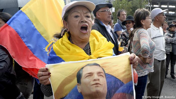 Correa still has some supporters in Quito, including this woman outside the court