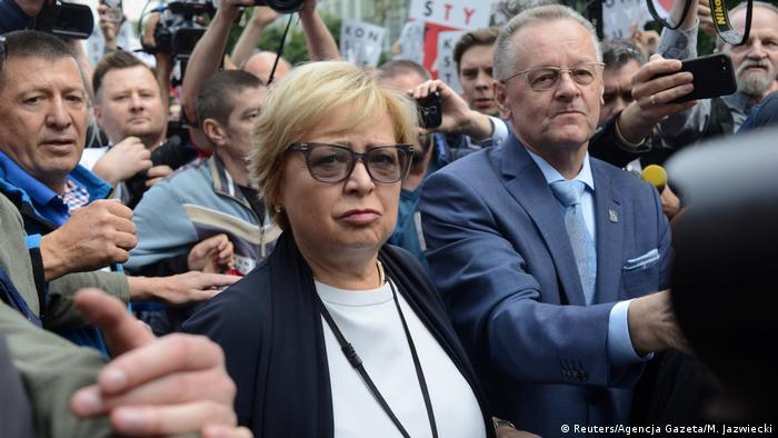 Supreme Court Chief Justice Malgorzata Gersdorf walked into the Supreme Court as thousands of protesters cheered her on