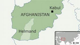 Map of Afghanistan with Helmand province highlighted