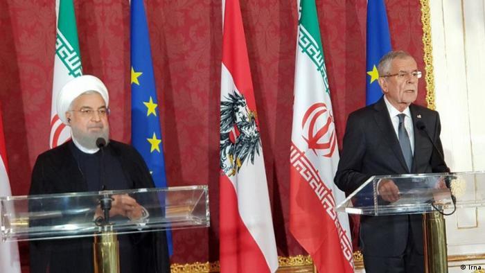 روسای جمهور ایران اتریش و ایران، الکساندر فن در بلن و حسن روحانی چهارشنبه ۱۳ تیر در وین