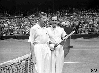 American Donald Budge, left, and Germany's Baron Gottfried Von Cramm at Wimbledon's Centre Court in 1937.