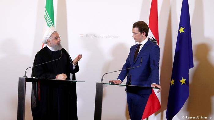 Iranian President Hassan Rouhani and Austrian Chancellor Sebstian Kurz during a press conference in Vienna